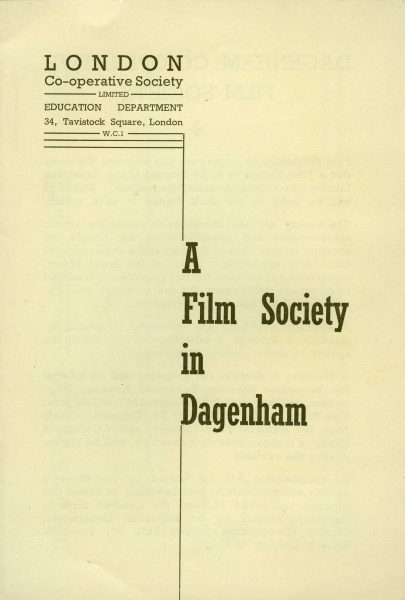 Front page of Dagenham Film Society leaflet