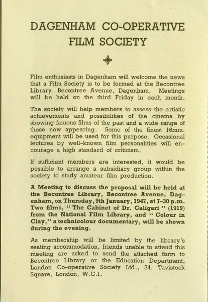 First page of Dagenham Film Society leaflet
