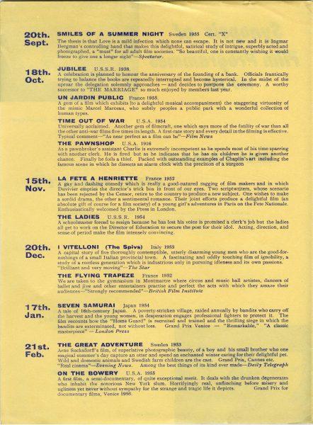 programme of film screenings