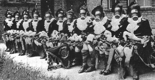 Dagenham Girl Pipers wearing gas masks