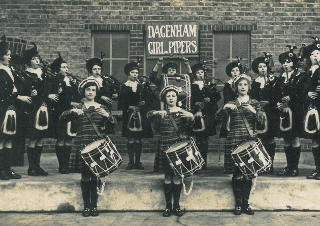 The Dagenham Girl Pipers in 1932. Peggy Iris is 4th from the left in the back row.