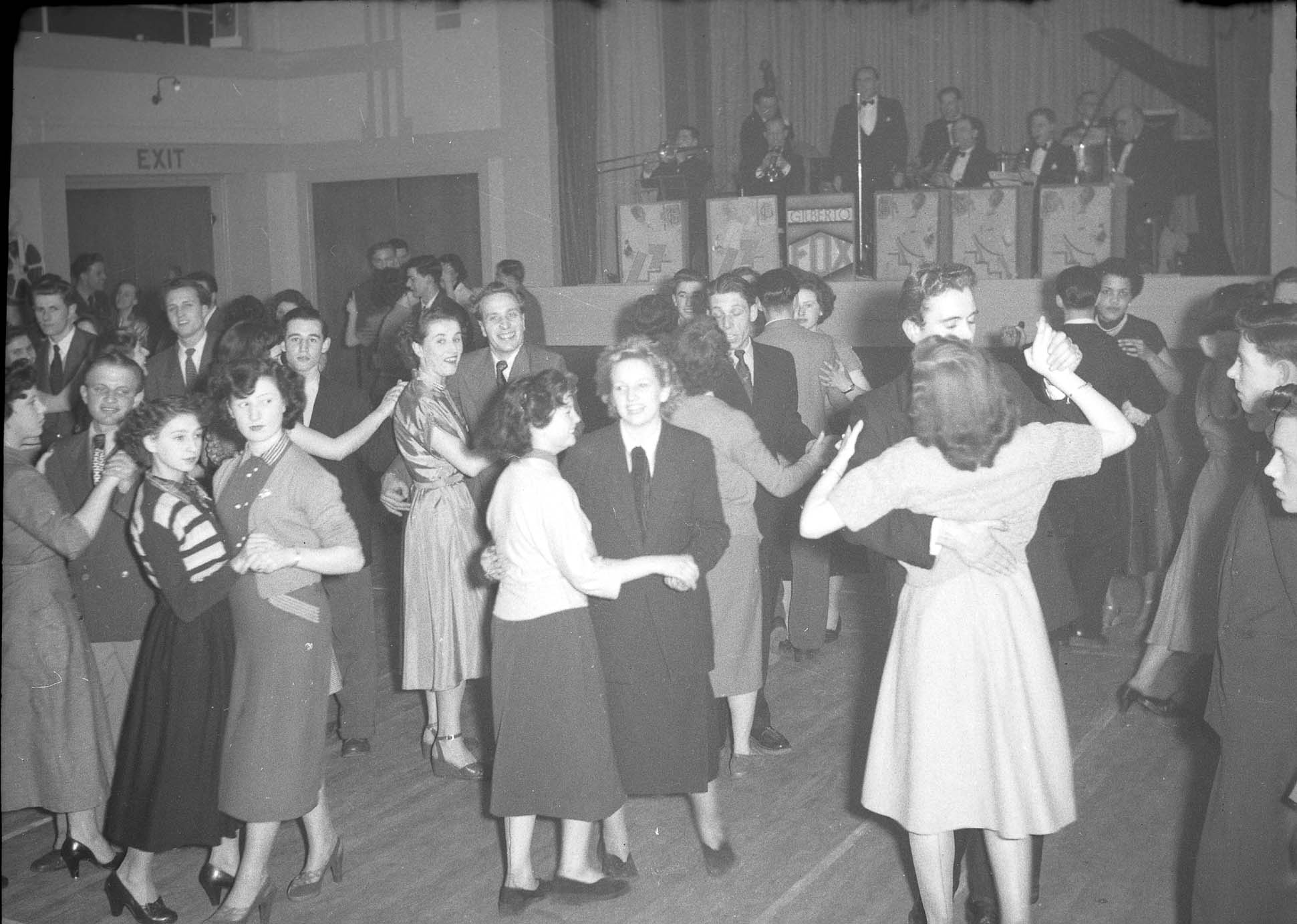 Photograph of couples dancing at Leys Hall