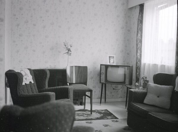 Living room of a new Gascoigne Estate flat in 1965