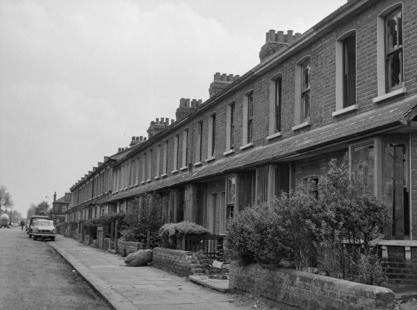 Old houses awaiting demolition in the Gascoigne area of Barking in 1966