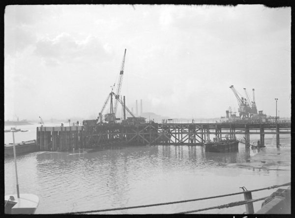 Samuel Williams and Sons jetty at Dagenham Dock with Barking Power Station in the background