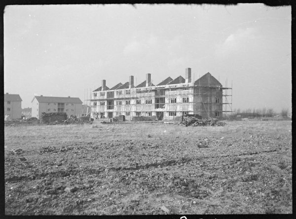 Unfinished flats opposite Rose Lane Farm in 1954