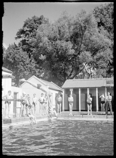 Diving team at the outdoor swimming pool in Valence Park, 1955