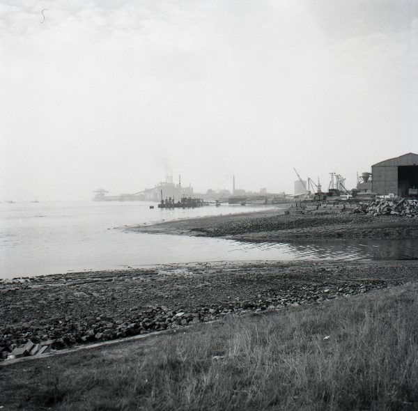 the Thames near Frog Island looking upstream towards the Ford Motor Works in 1959
