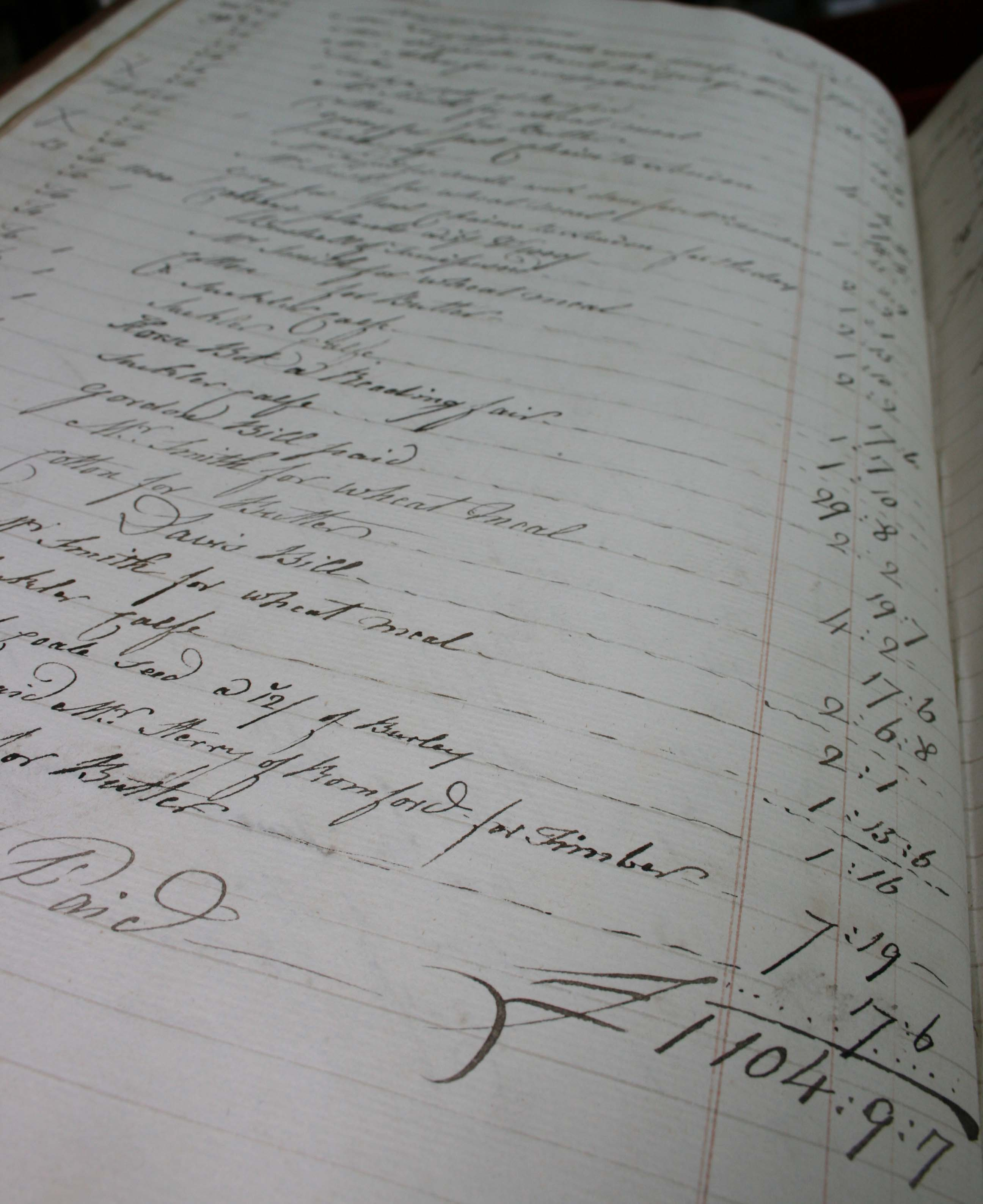 Page for an account book for Parsloes Manor.