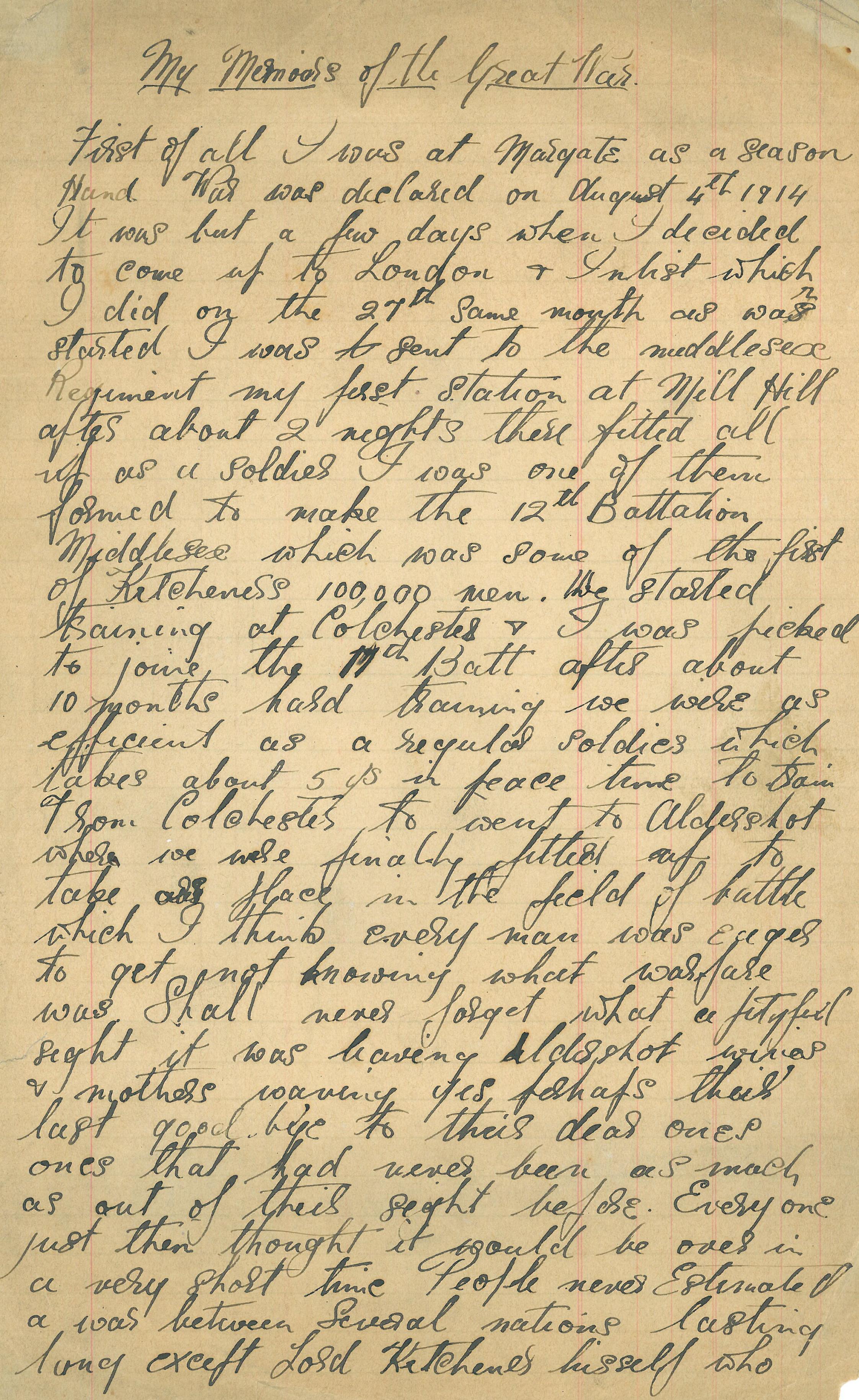 First page of Walter Perren's First World War Memoir