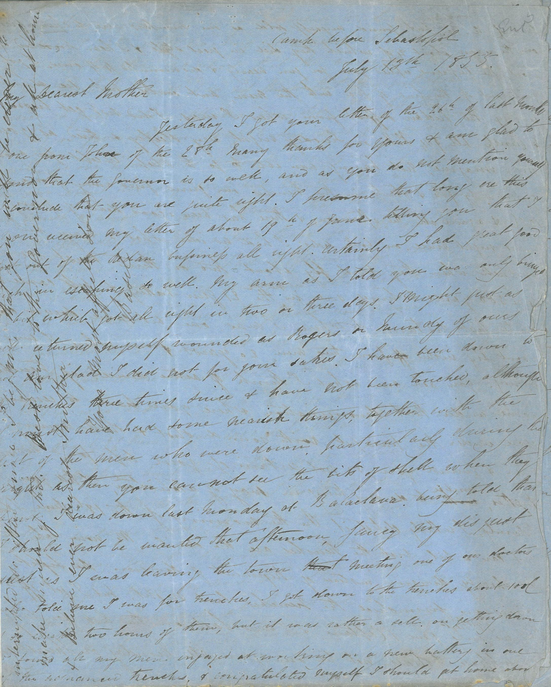 Page one of a letter written by Captain Thomas Basil Fanshawe dated 13 July 1885