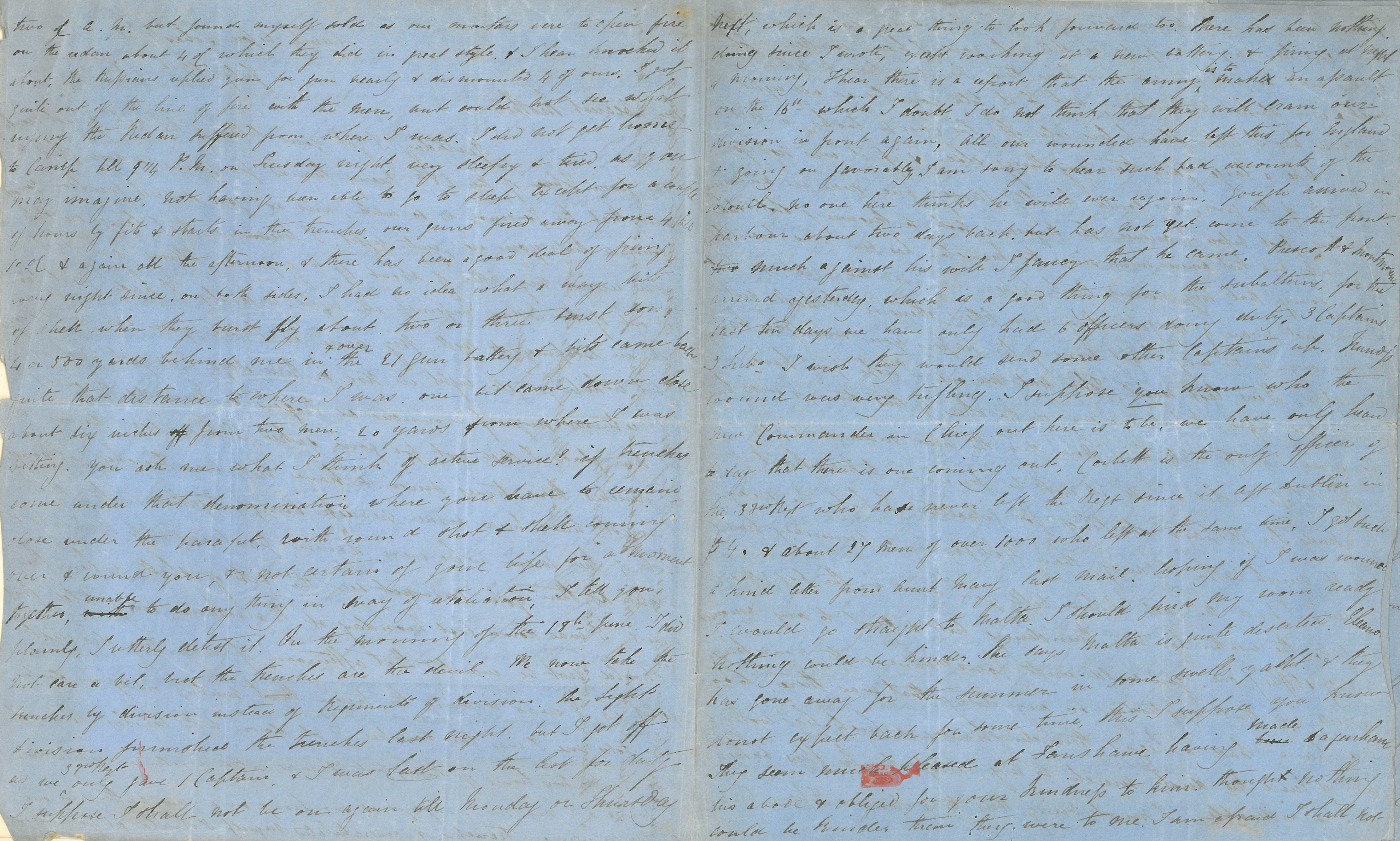 Page two and three of a letter written by Captain Thomas Basil Fanshawe dated 13 July 1885
