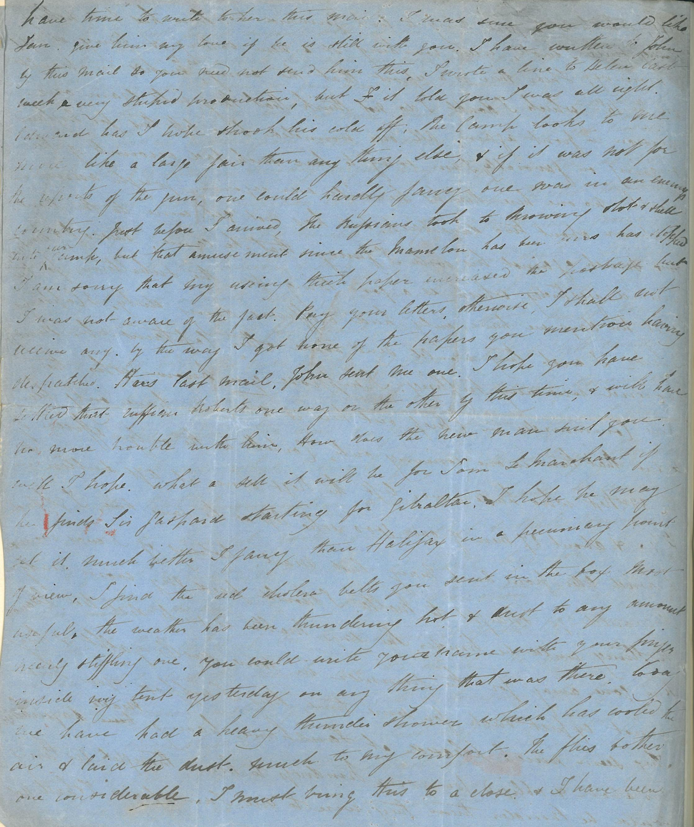 Page four of a letter written by Captain Thomas Basil Fanshawe dated 13 July 1855