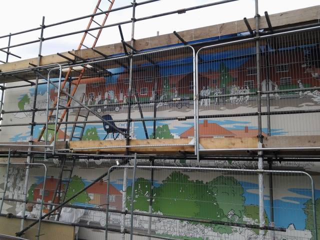 The mural in progress at Valence House