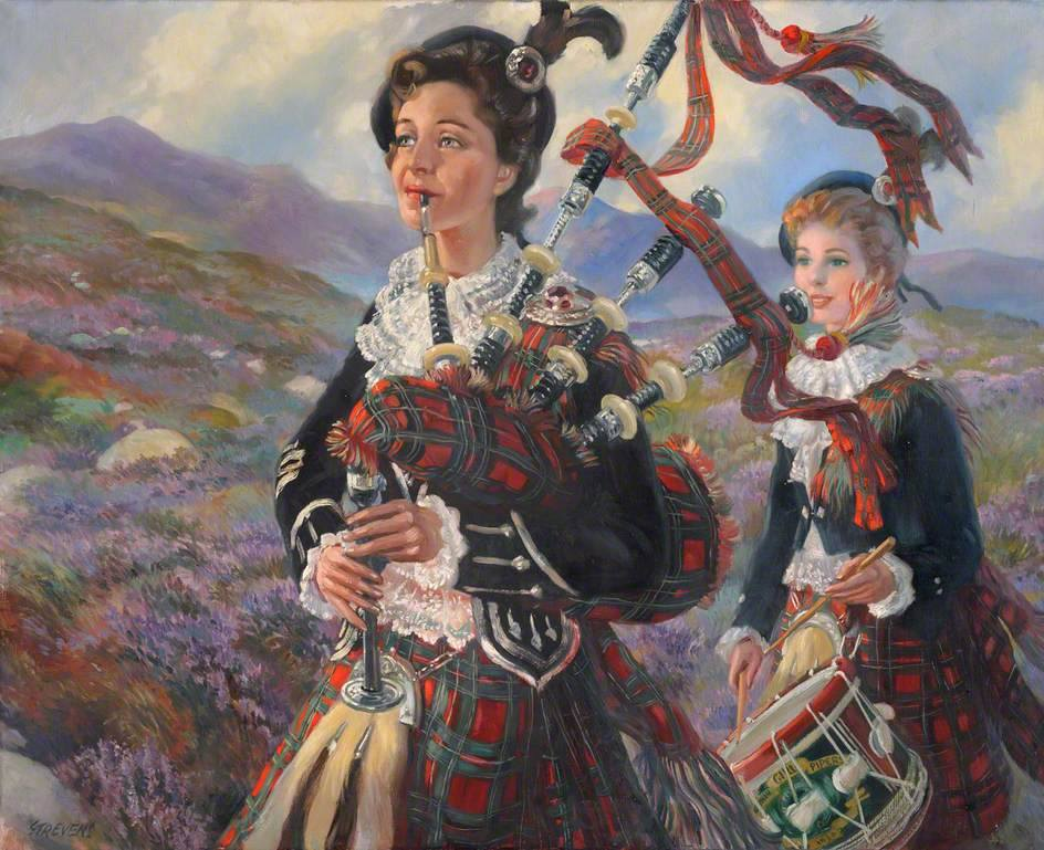 Oil painting of Pipe Major Peggy Iris: Piping through the Heather, by John Strevens. This is in the Valence House collection but not currently on public display