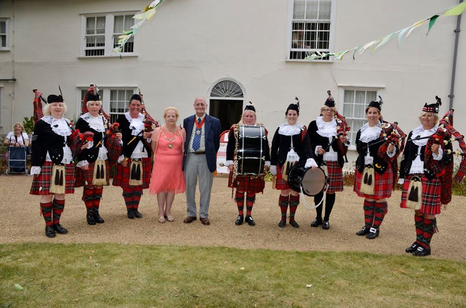 Mayor with Dagenham Girl Pipers outside Valence House Museum