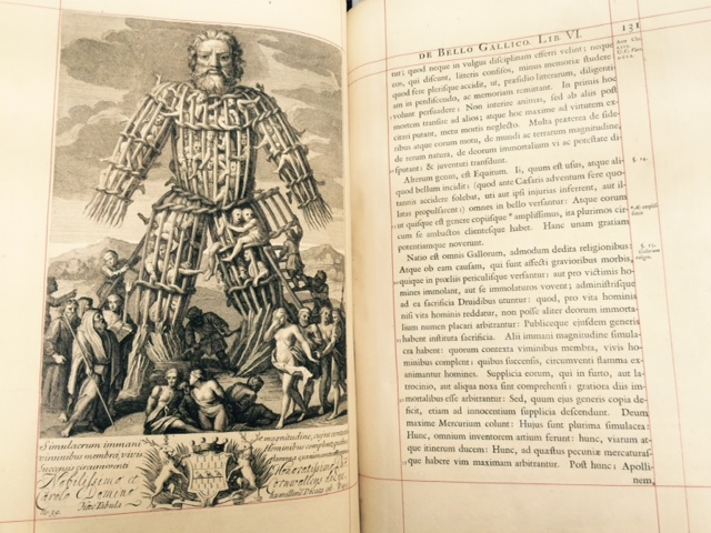 Illustration showing human sacrifices inside a giant Wicker Man published 1710.