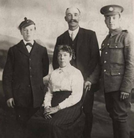 William Fletcher with his parents and brother, circa. 1917